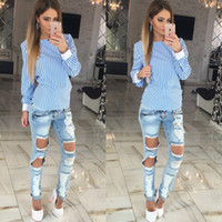 Wholesale Cute Women Blouse Fashion White Striped Open Back Sexy tops Long Sleeve Shirt Women Summer Clothes plus size