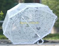 Wholesale 50pcs Transparent White Lace Umbrella Parasol Long handled Cute Princess Fishing Women Umbrella Rain
