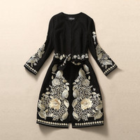 Wholesale HIGH QUALITY Fall Winter NEW Runway Coat Women s Designer Black Gold Floral Embroidery Long Sleeve Elegant Jackets