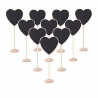 Wholesale pack Mini Heart Shape Wooden Blackboard Cute Chalkboard Message Notice Number Tag Board Shop Wedding Party Table Decor