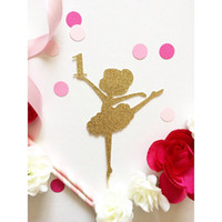 age decorative accessory - cheap glitter custom Ballerina Age number or letter cupcake toppers Food Picks girls birthday party cake decors24pcs