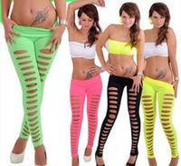 bandage leggings - Fashion Candy Color Leggings Women Hole Stretch Leggings Women Pants Brazilian Ripped Cut out Bandage One Size