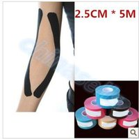 Wholesale hot cm x m Muscle Tape Sports Tape Kinesiology Tape Cotton Elastic Adhesive Muscle Bandage Care Physio Strain Injury Support hot