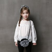 Wholesale Top baby dress Kids T shirt Pierced Princess Puff Sleeve Shirt Toddlers Clothing