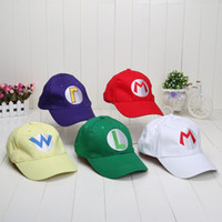 Wholesale 5pcs set Super Mario Bros Baseball Hat Caps Set Of Red Mario Green Luigi Hats