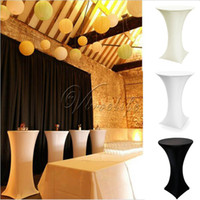 Wholesale White Black Ivory Stretch Cocktail Lycra Dry Bar Spandex Table Cover Tablecloth Wedding Event Party Decor cm cm