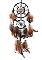 wind chime - Wind chimes Wall Decoration Brown Dream Catcher With Feathers Wall Hanging Decoration Car OrnamentsDecor Bead Ornamen
