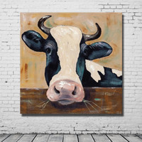 arts cow free shipping - Cow Painting Canvas Art Pictures for Bedroom Decoration Hand Painted Animal Oil Painting Decorative Pictures No Framed