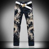Wholesale Hot Men S designers Jeans d Dragon Slim fancy mens jeans Pants Men s Gothic Trousers Male Long Jeans Black Pants MB16230