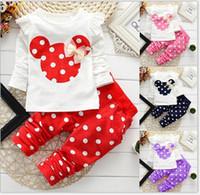 Cheap DHL girls Cute dot Mickey Mouse head bow t-shirt + pants 2pcs suit baby kids Spring Autumn Minnie Children clothes 4 color