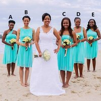 beach africa - Short Bridesmaid Dresses Turquoise Blue Knee Length Ruched Chiffon Wedding Party Gowns Beach Summer South Africa Bridesmaids Dress