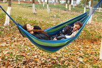 Wholesale 280 cm Single Outdoor Hammock Creation Thickerness Canvas Garden Hang Bed Travel Camping Swing Stripe Rope