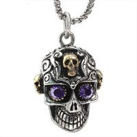 amethyst crystal skull - Amethyst Purple Crystal Eyes Jewelry L Stainless Steel Skull Pendant Necklace Fashion Gold Plated Skeleton Necklaces Z011