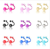 Wholesale 9 colors earrings for women double sided Candy Bridal wedding luxury ear stud round statement diamond earring stud diamond ring free shippin