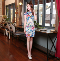 Wholesale Chinese Wear For Women - Corlorful Slim Cheongsams Red Print Cutton Short Sleeve Chinese Dresses For Women With Royal Blue Plate Buttons Party Dresses FORMAL WEAR