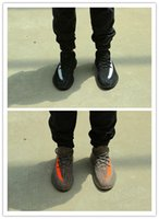 aa cuttings - Kanye West Hot Boost V2 Grey Orange Black White Running Casual Shoes AA High Quality Version Size Sneakers