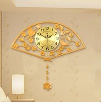 Wholesale 1pcs Chinese sector sitting room wall clock Bedroom super mute wall clock Modern creative pastoral bracket clock
