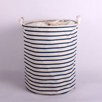 Wholesale Wholesal Zakka Storage Laundry Hamper Clothes Basket Storage Bucket Receive Beam Barrels Toy Bin Cotton and linen Dirty Clothes Buckets