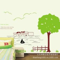 animal fences - Removable wall stickers living room bedroom sofa TV background wall stickers decorative wall stickers AY849 trees fenced homes