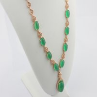 green jade - 2016 new arrived Romantic Green Chalcedony Pendant Silver Gold plated Necklaces Fashion Jewelry For Women and lady gift