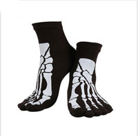 Wholesale colors Punk Rock Men s D print terror skeleton toe socks Hip Hop scary skull five finger odd sox bone male sport short
