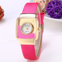 ball watch straps - Top Quality Quicksand Ball Design Square Dial Face Women s Leather Strap Watches Fashion Style Luxury Ladies Party Dress Elegant Wrist Watch