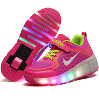 roller skate shoes - Children Shoes With LED Lighted Fashion Breathable Wheel Shoes Boy Girl Roller Skates Fashion Kids Sneakers