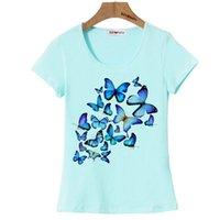 beautiful group - BGtomato a group of blue butterfly t shirt women beautiful summer cool shirt Good quality cotton t shirt brand tops