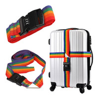 Wholesale Excellent Quality Luggage Suitcase Baggage for Cross Strap Belt With Secure Coded Lock Rainbow Color