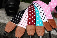 bag films stock - In Stock Universal for Canon Sony Nikon Camera straps Neck Shoulder Strap bands Wristband for Film SLR DSLR RF Cute Polka freefast ship