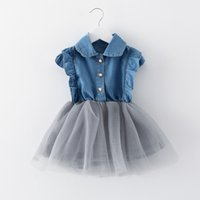 Wholesale Spring and summer new Korean children s clothing children dress infant girl child dress children denim short sleeved princess dress a genera