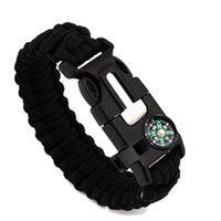 Wholesale 40 Paracord Survival Bracelet Compass Knife Fire Starter Whistle Camping Gear Kit Survival Bracelets for outdoor exploration