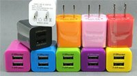 Wholesale 100pcs USB wall US plug A AC Power Adapter Wall Charger Plug port for samsung galaxy note LG tablet ipad