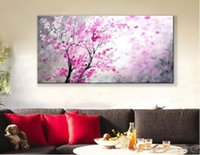 Wholesale Framed Brand New Handmade High Quality Beautiful Modern Impression Pink Flower Oil Painting on Canvas Home Wall Decor Art Paintings