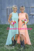 Cheap 2016 New Peach Chiffon Bridesmaid Dresses Lace Crew Neckline High Low Western Country Summer Cheap Plus Size Formal Party Gowns Prom Dresses
