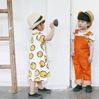 baby brother shirts - Hot Children Kids INS Girls Skirt T Shirt Cotton Baby Dress T shirts Printed Clothing Watermelon Orange Casual Loose Brother Sister Summer