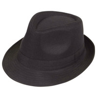 Wholesale Black Fedora Plain Hat Outfit accessory for Gangster Fancy Dress