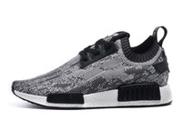 Wholesale 2016 NMD Runner Primeknit Men S Running Shoes Fashion Running Sneakers for Men and Women Human Race Black