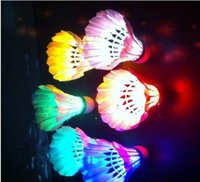 Wholesale Pack Of LED Badminton Shuttlecock Birdies Lighting Novelty Colorful Dark Night Glow Flashlight Lighting Sports Activities E589E
