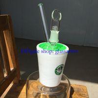 green jade - white jade glass Green glycerin glass bong mm male joint oil rig high quality bongs
