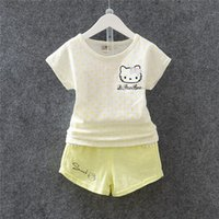 bamboo settings - 2016 New Summer Children Suit With Hello Kitty Cute Cat Cotton Knitting Bamboo Suit Children s Pieces New Cartoon Settings New Arrival
