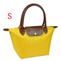 beach bronze - Women Single shoulder bag Folding Beach Handbags long handle Casual waterproof nylon travel shopping Champagne bag S