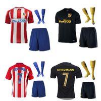 Wholesale A Quality16 Atletico Madrid Jersey kits socks Home red Away black Soccer uniform sets GRIEZMANN F TORRES JACKSON KOKE football shirt