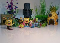 Wholesale Spongebob Aquarium Decoration Fish Tank Ornaments Set of Pineapple House Squidward Easter Island Krusty Krab
