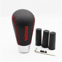 Wholesale momo Universal Aluminum Leather Manual Car Tuck Gear Stick Shift Knob Shifter Lever Cover Red Stitched Black hot sale New