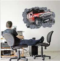 Wholesale ORDERIN Wall Decal Mural d Off road Vehicles To Break Through the Wall Removable Wall Stickers Wall Art for Home Living Room Decor