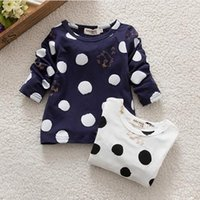 basic baby clothes - Kids Baby Girls T shirt Unisex Polka Dots Long Sleeve Shirt Tops T Shirt Cotton Basic Tees Clothing