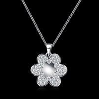 Cheap New Flower Pattern Diamond Choker Necklace Telesthesia Fashion Girl Women Luxury Jewelry 925 Silver Link Chain Charm Pendant Free Shipping