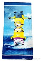 Wholesale 2015 color kid cotton printed minnions beah towels robes minions bathing towel Despicable Me Shower Gym Fitness Camping Towel TOPB3672