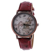 antique leather goods - FEIFAN unisex watch fashion personality map of copper shell surface waterproof quartz performance goods restoring ancient ways